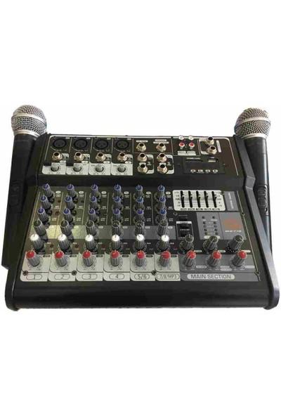 Cooma B-2719 2 Stereo+4 Mono 2X250 Watt 2 Adet Uhf Mikrofonlu USB Mikser Anfi
