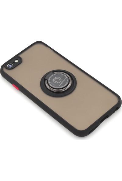 Case Markt Apple iPhone 6s Manyetik Yüzüklü & Standlı Silikon Telefon Kılıfı Siyah