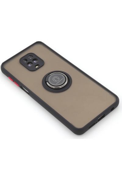Case Markt Xiaomi Redmi Note 9 Pro Manyetik Yüzüklü & Standlı Silikon Telefon Kılıfı Siyah