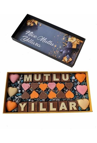 40 Yıl Çikolata Kahve Yılbaşı Harfli Yazılı Isimli Resimli Hediyelik Çikolata Draje Kutusu 300 gr