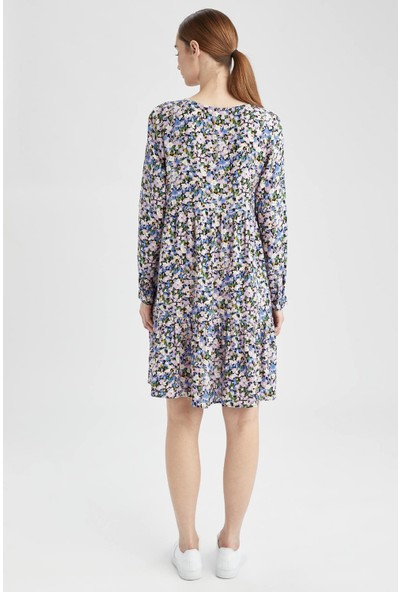 Hamile V Yaka Volan Detaylı Çiçek Desenli Elbise
