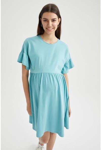 Volan Detaylı Kısa Kollu Hamile Elbisesi