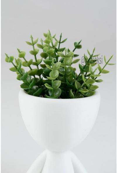 XYZ Saksı Insansı Saksılar 3'lü Beyaz Set Yapay Çiçekli