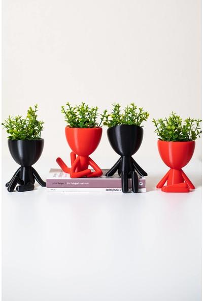 XYZ Saksı Insansı Saksılar Siyah-Kırmızı Dörtlü Set Yapay Çiçekli