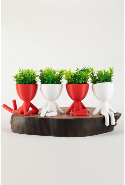 XYZ Saksı Insansı Saksılar Beyaz-Kırmızı Dörtlü Set Yapay Çiçekli