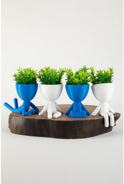 XYZ Saksı Insansı Saksılar Beyaz-Mavi Dörtlü Set Yapay Çiçekli