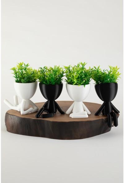 XYZ Saksı Insansı Saksılar Siyah-Beyaz Dörtlü Set Yapay Çiçekli
