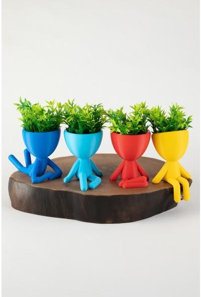 XYZ Saksı Insansı Saksılar Rengarenk Dörtlü Set Yapay Çiçekli