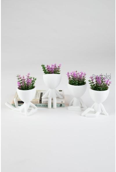 XYZ Saksı Insansı Saksılar Dörtlü Set Mor Çiçekli