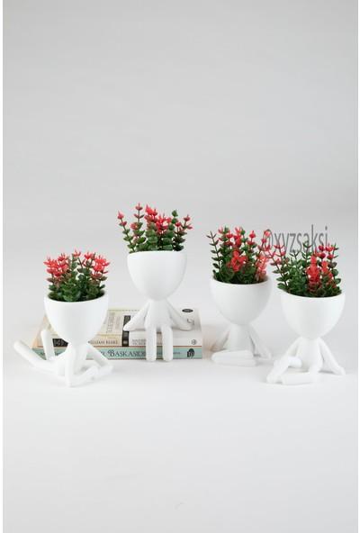 XYZ Saksı Insansı Saksılar Dörtlü Set Kırmızı Çiçekli
