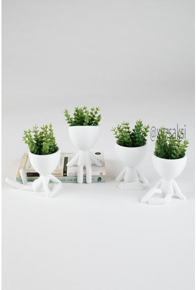 XYZ Saksı Insansı Saksılar Dörtlü Set Yeşil Çiçekli
