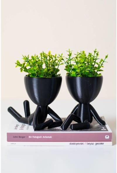 XYZ Saksı Insansı Saksılar Siyah Ikili Set Yapay Çiçekli