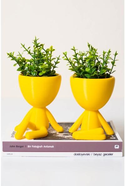 XYZ Saksı Insansı Saksılar Sarı Ikili Set Yapay Çiçekli