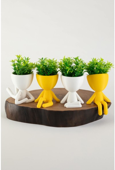 XYZ Saksı Insansı Saksılar Sarı-Beyaz Dörtlü Set Yapay Çiçekli
