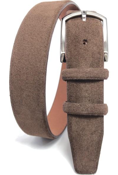Giray Deri Süet 3.5 cm Kahverengi Kemer