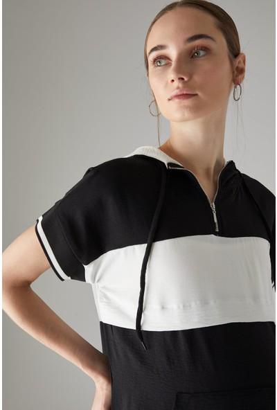 DeFacto Hamile Renk Bloklu Kapüşonlu Kısa Kollu Tişört