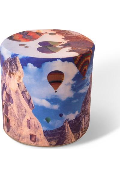 Evdemo Kapadokya Desenli Silindir Puf