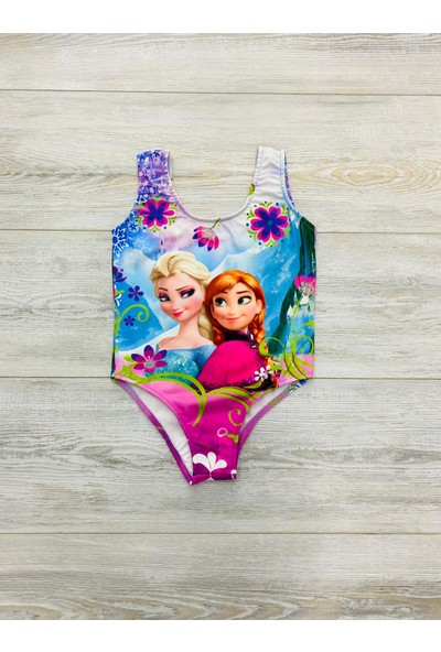 Kız Çocuk Prenses Elsa Temalı Askılı Mayo