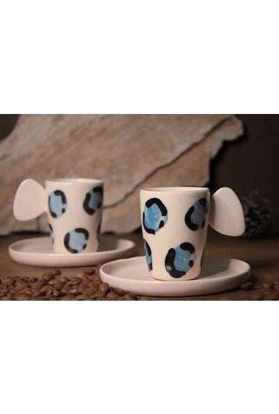 Adamodart Mavi Leopar Tasarım 2'li Seramik Kahve Fincanı