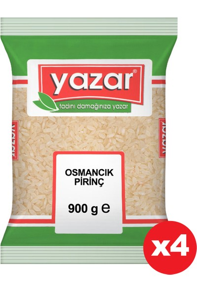 Yazar Osmancık Pirinç 900 gr x 4 Paket.