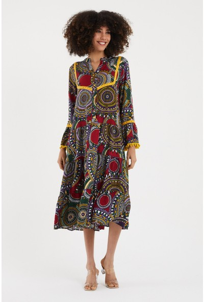 Vale Woman Valewoman Desenli Ponpon Detaylı Volanlı Uzun Viskon Kadın Elbise   Etnik Elbise  