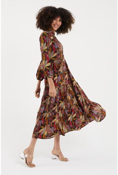 Vale Woman Valewoman Desenli Gömlek Yaka Düğme Detaylı Uzun Kollu Viskon Kadın Elbise   Etnik Elbise  