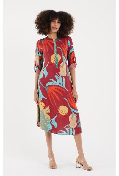 Vale Woman Valewoman Desenli Yırtmaç Detaylı Uzun Viskon Kadın Elbise   Etnik Elbise  
