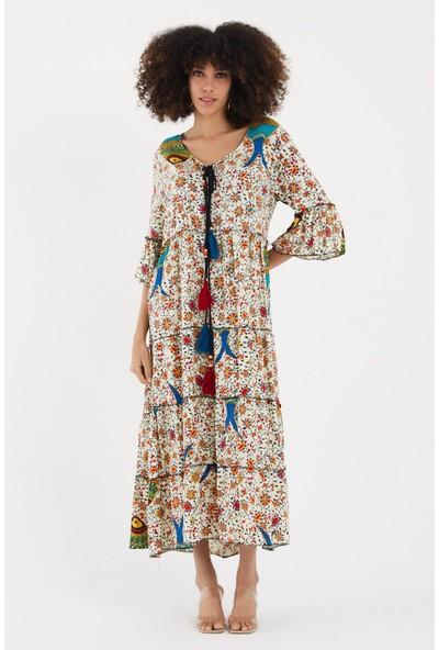 Vale Woman Valewoman Desenli Ponpon Detaylı Volan Kol Viskon Kadın Elbise   Etnik Elbise  