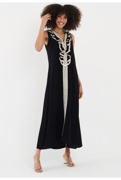 Vale Woman Valewoman Kolsuz Güpür Detaylı Viskon Kadın Elbise   Etnik Elbise  