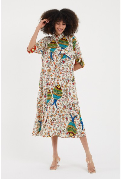 Vale Woman Valewoman Desenli Gömlek Yaka Düğme Detaylı Viskon Kadın Elbise   Etnik Elbise  