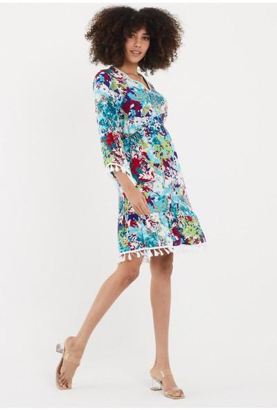 Vale Woman Valewoman Desenli Püskül Detaylı Viskon Kadın Elbise   Etnik Elbise  