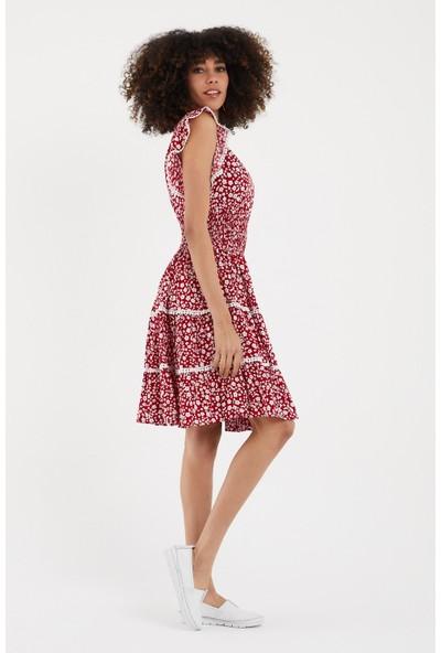 Vale Woman Valewoman Bel Büzgü Detaylı Desenli Viskon Kadın Elbise