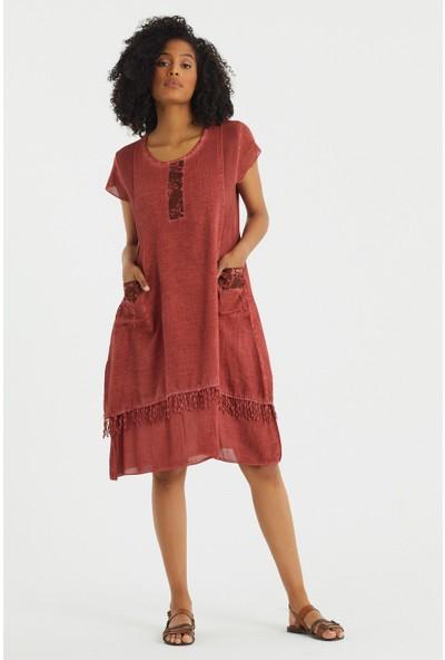Vale Woman Valewoman Desenli Püskül Detaylı Astarlı Kadın Elbise   Otantik Elbise  