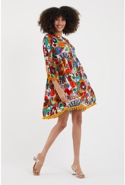 Vale Woman Valewoman Desenli Ponpon Detaylı Viskon Kadın Elbise   Etnik Elbise  