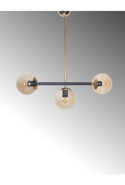 Luzarana Optik 3 Lü Gold-Siyah Metal Gövde Bal Rengi Camlı Tasarım Lüx Sarkıt Avize