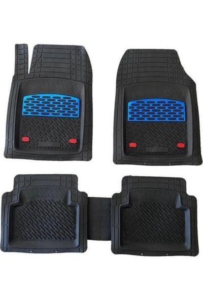 Team Car 2006 Model Ford Fiesta Için 3D Havuzlu Tip Universal Paspas - Mavi Kromajlı