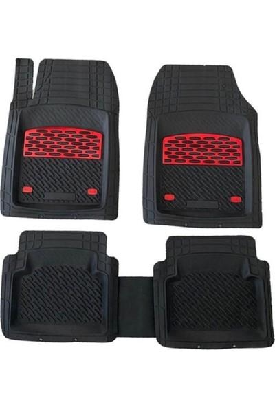 Team Car 2008 Model Citroen C3 Picasso Için 3D Havuzlu Tip Universal Paspas - Kırmızı Kromajlı