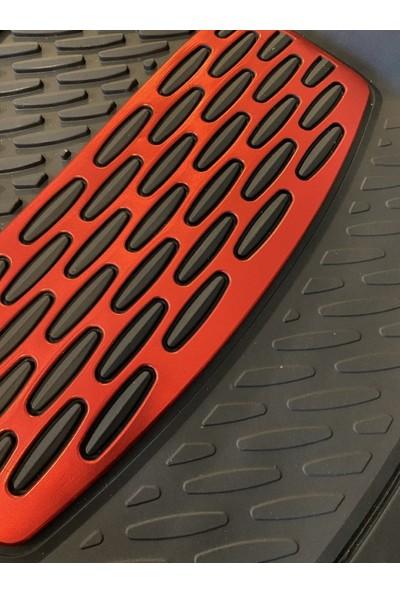 Team Car 2001 Model Fiat Fiorino Için 3D Havuzlu Tip Universal Paspas - Kırmızı Kromajlı