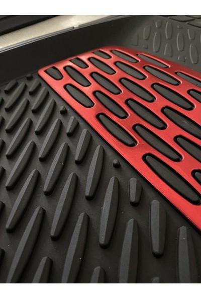 Team Car 2021 Model Nissan Juke Için 3D Havuzlu Tip Universal Paspas - Kırmızı Kromajlı