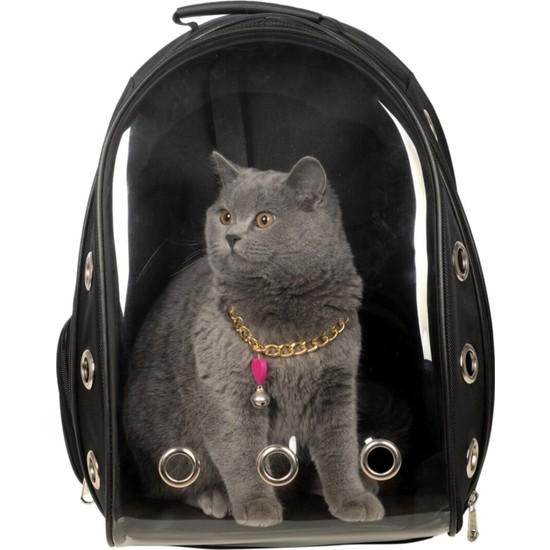 Es-Se Ticaret Şeffaf Astronot Kırılmaz Kedi Köpek Taşıma Çantası 42 x 22 x 33 cm - Siyah