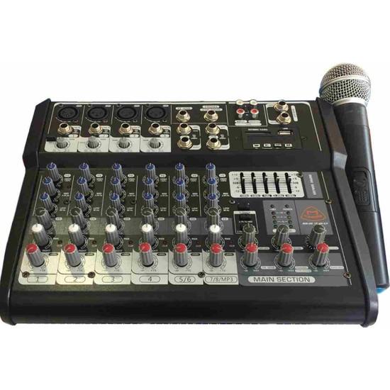 Cooma B-2720 2 Stereo+4 Mono 2X250 Watt 1 Adet Uhf Mikrofonlu USB Mikser Anfi
