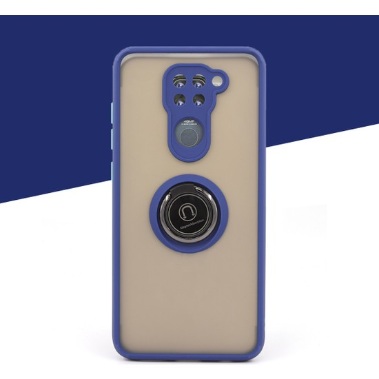 Case Markt Xiaomi Redmi Note 9 Manyetik Yüzüklü & Standlı Silikon Telefon Kılıfı Mavi