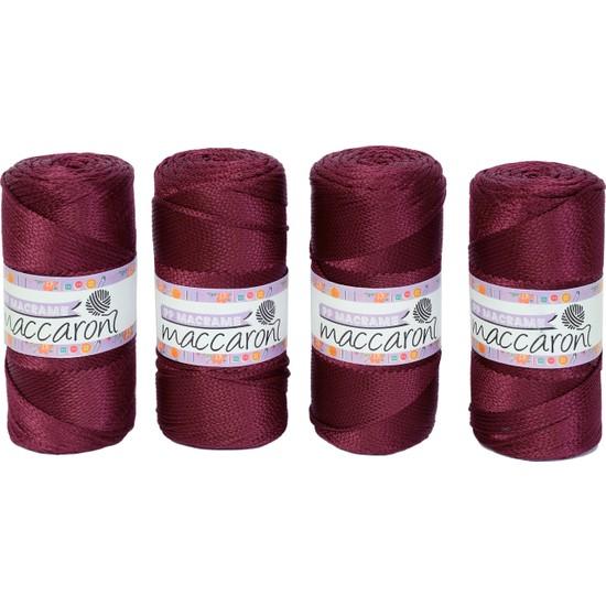 Maccaroni Polyester Makrome Ip - 200 gr -230 M - Kalınlık : 2mm ( 4 Adet)