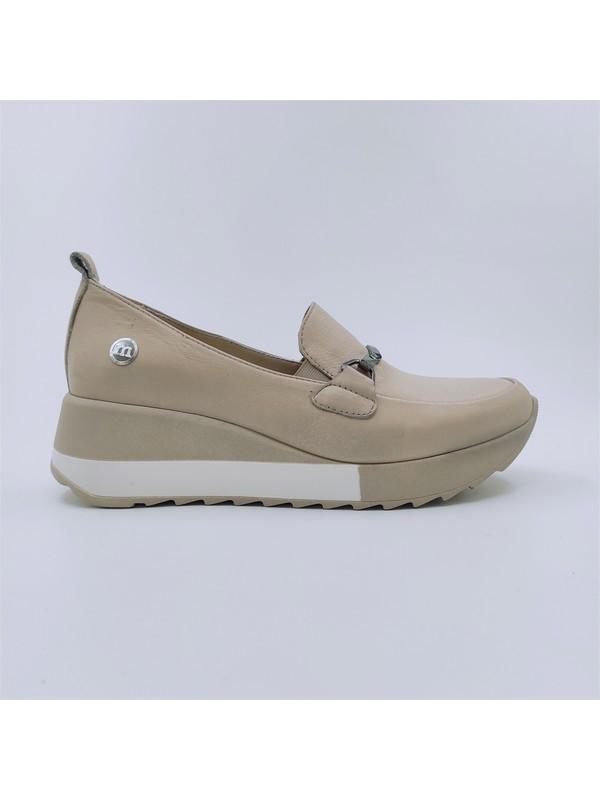 Mammamia Kadın Deri Bej Dolgu Topuklu Ayakkabı