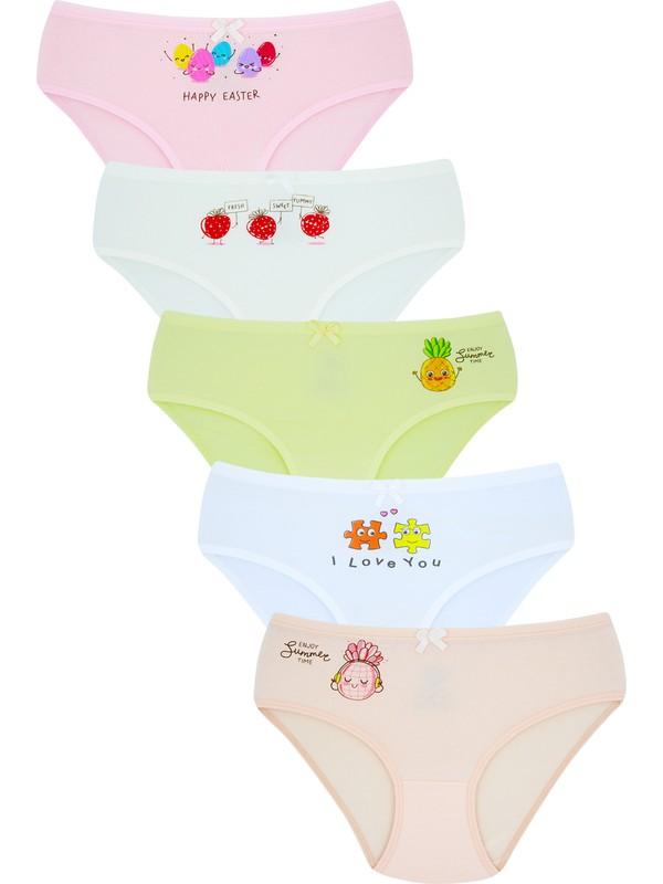 Biyokids Kız Çocuk Külot 5 Li Paket Karışık Renk Baskılı Külot