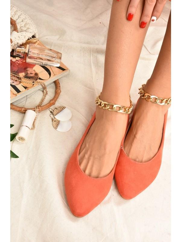 Fox Shoes Turuncu Süet Zincirli Kadın Babet K726096002