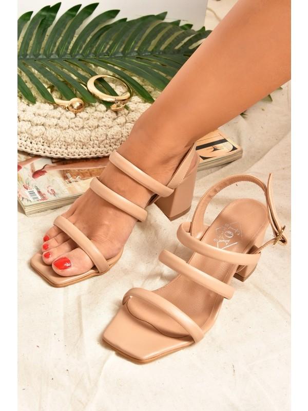 Fox Shoes Ten Üç Bantlı Kadın Topuklu Ayakkabı K510973209