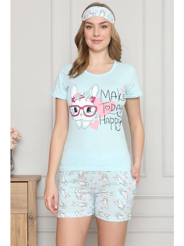 Akbeniz Kadın %100 Pamuk Penye Kısa Kol Şortlu Pijama Takım 4320