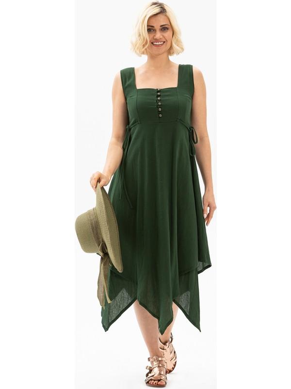 Eliş Şile Bezi Üçgen Katlı Şile Bezi Elbise Yeşil