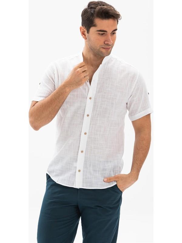 Eliş Şile Bezi Kısa Kol Şile Bezi Bodrum Erkek Gömlek Beyaz